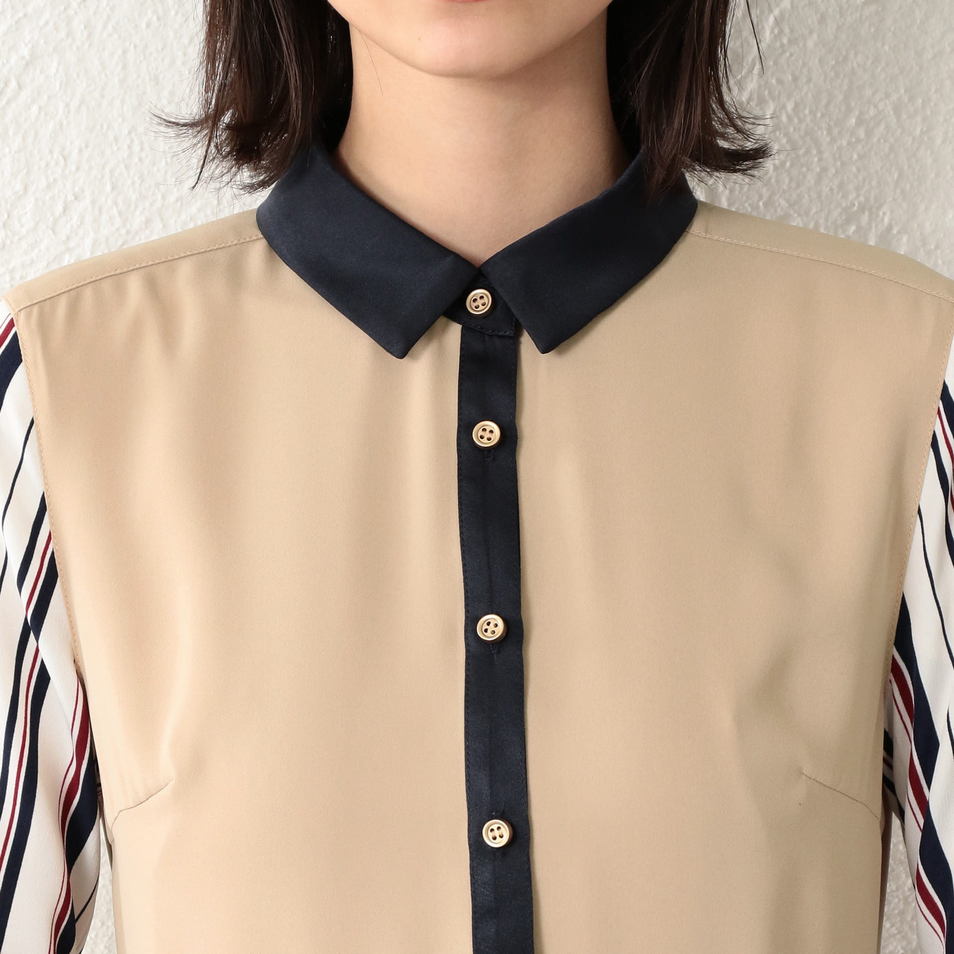 WOMEN ストライプシャツカラードレス