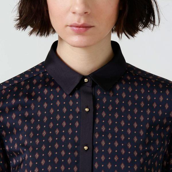 ジオメトリック クレリックシャツ