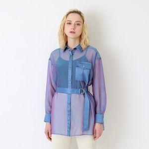 シアーシャンブレーワイドシャツ