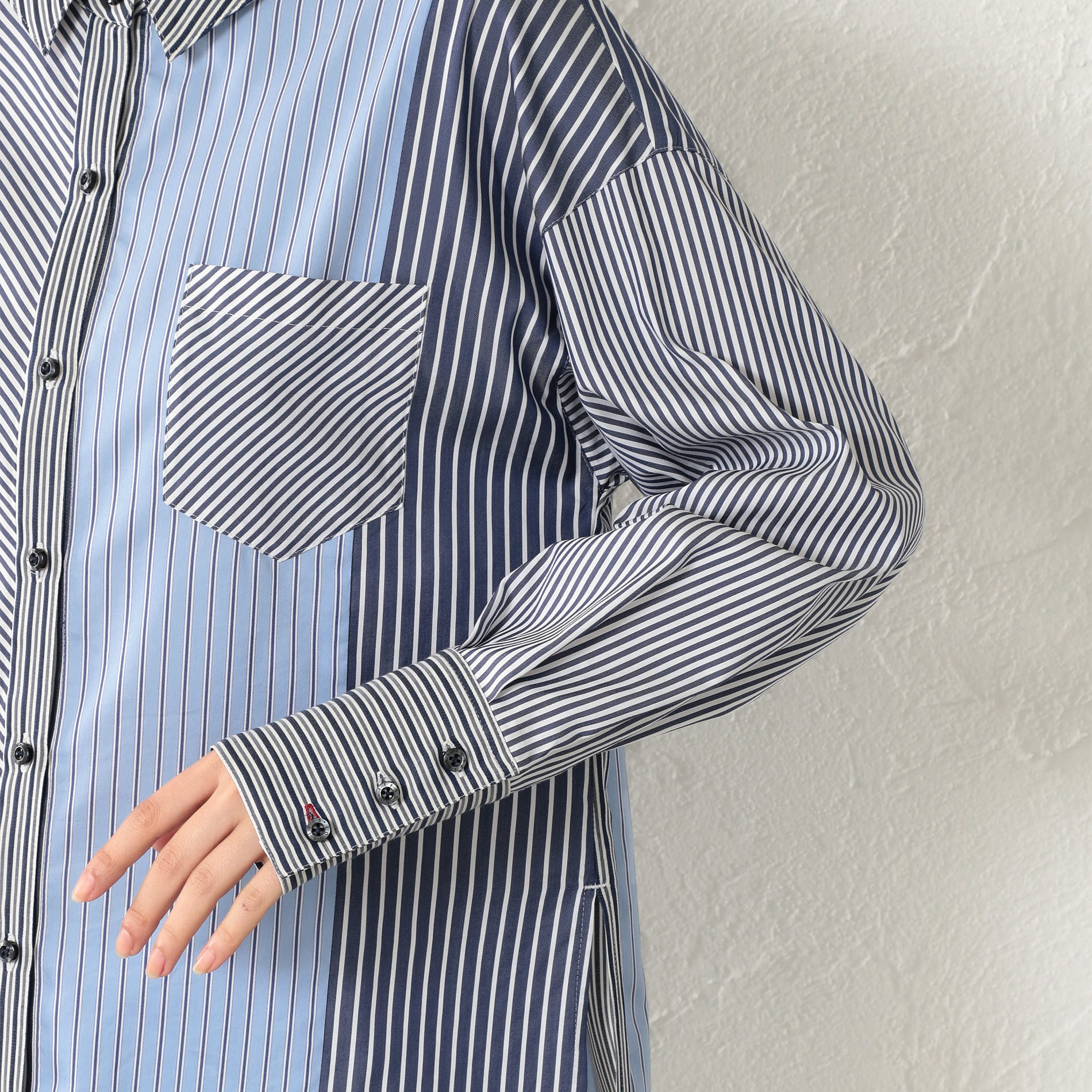 WOMEN マルチストライプシャツ