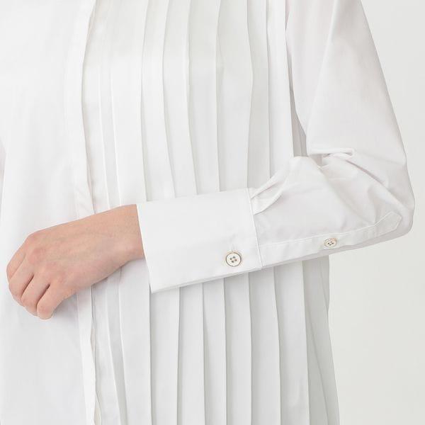 ハーフプリーツ ロングシャツ