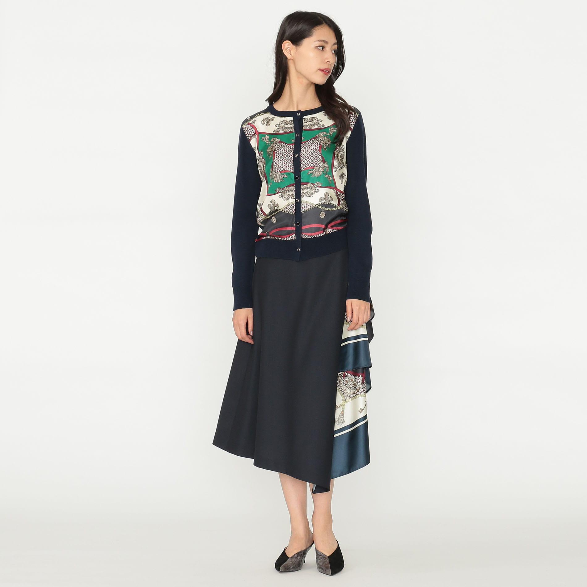 【予約販売】スカーフ コンビ ニット カーディガン