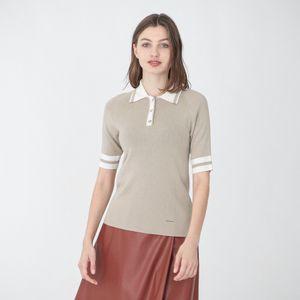 ライン ニット ポロシャツ
