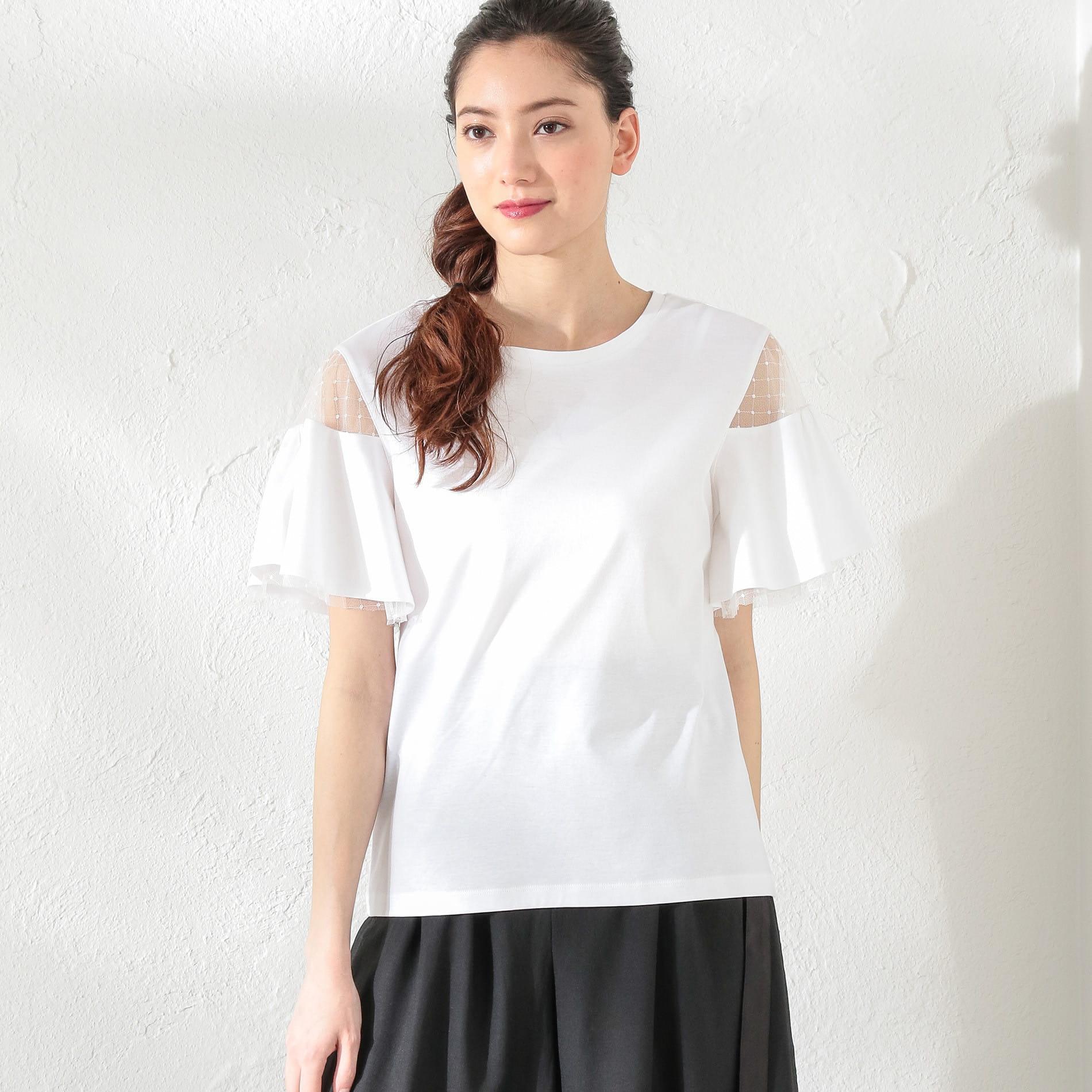 WOMEN シアーフレアースリーブTシャツ