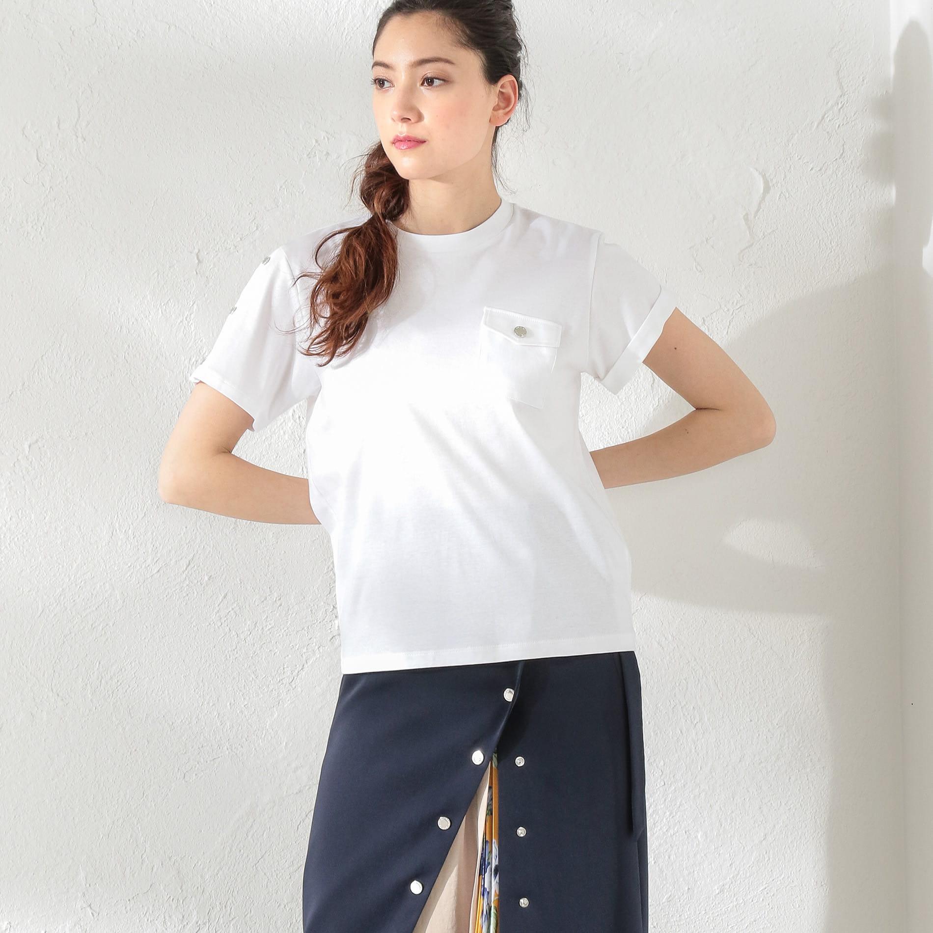 WOMEN アシメスリーブポケットTシャツ