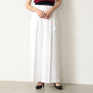 WOMEN リネンライク ホワイトワイドパンツ