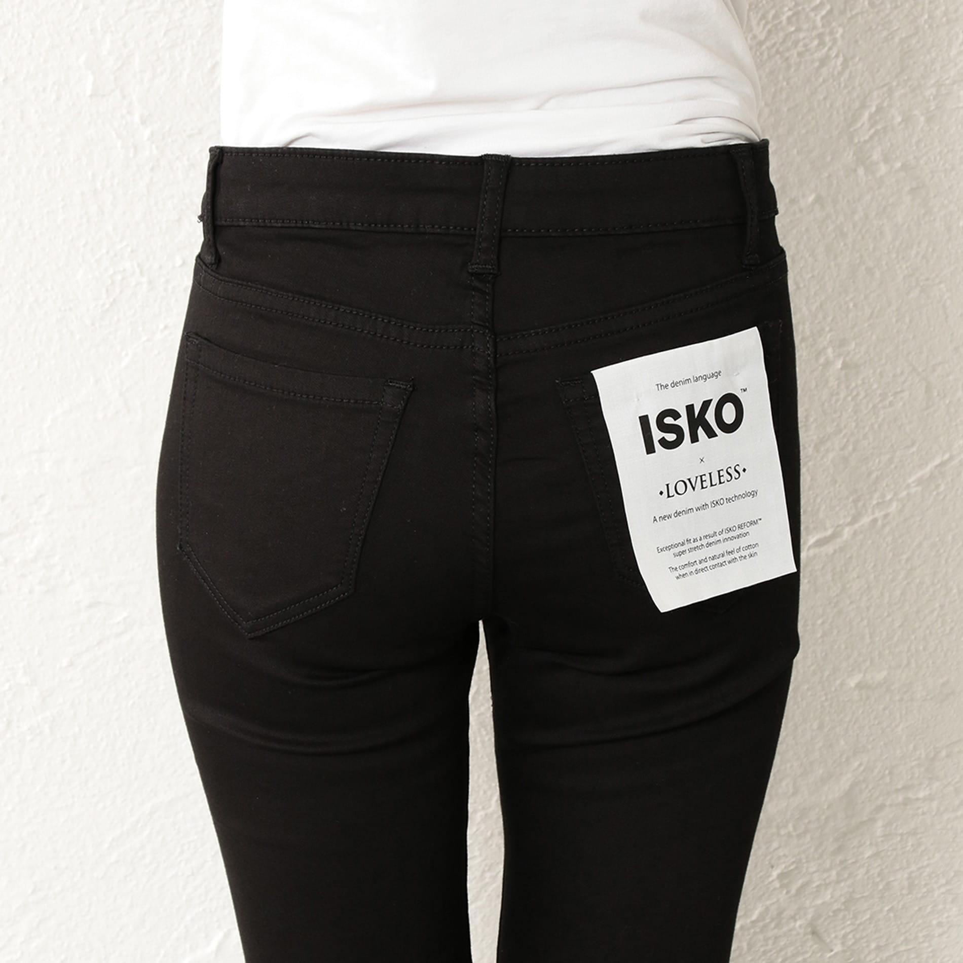 WOMEN ISKO ハイブリッドブラックデニムパンツ