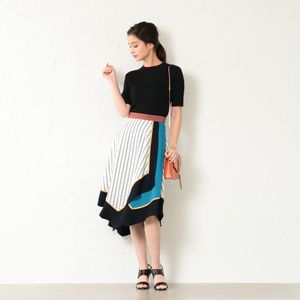 WOMEN カラーブロックアシンメトリースカート