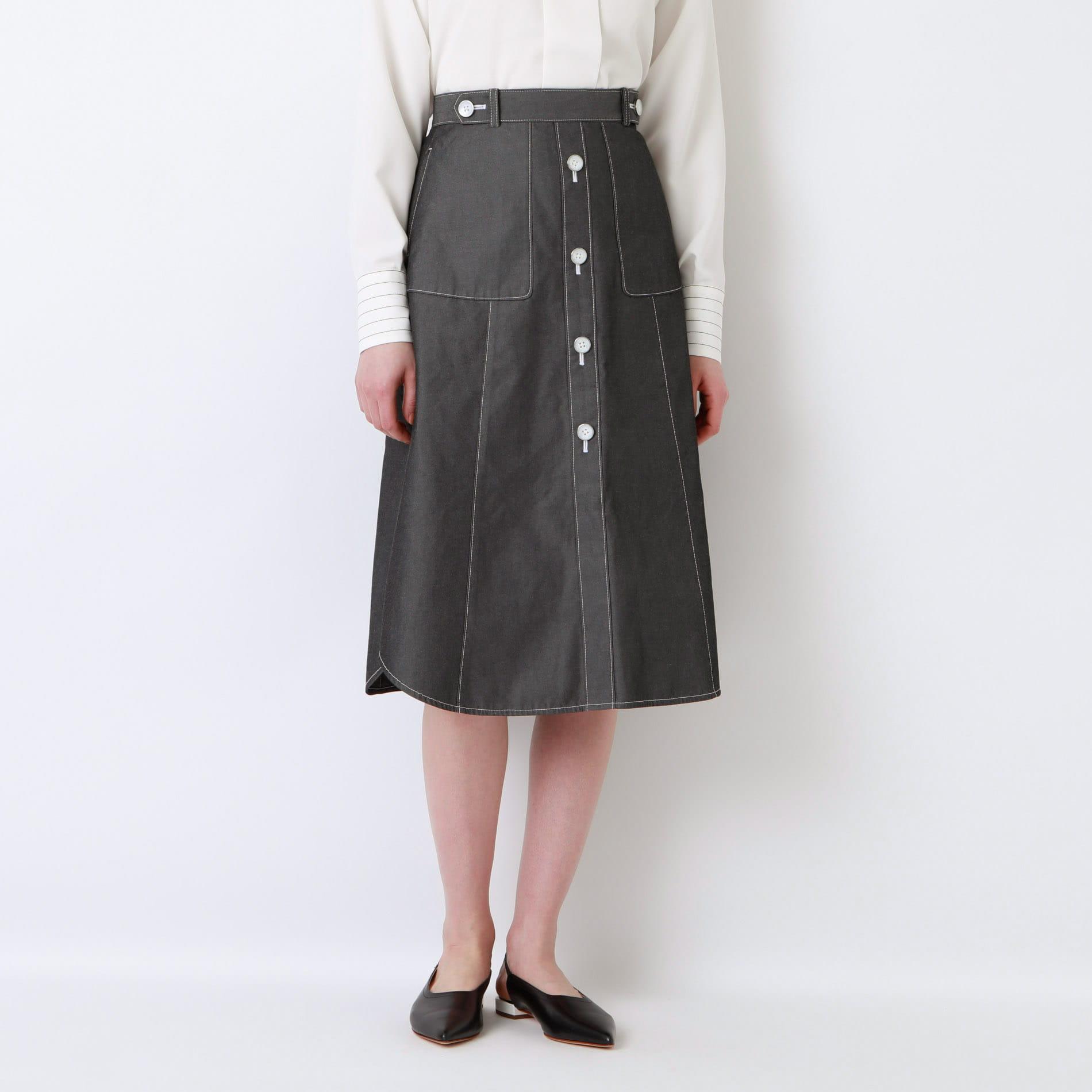 ステッチ ミモレ スカート