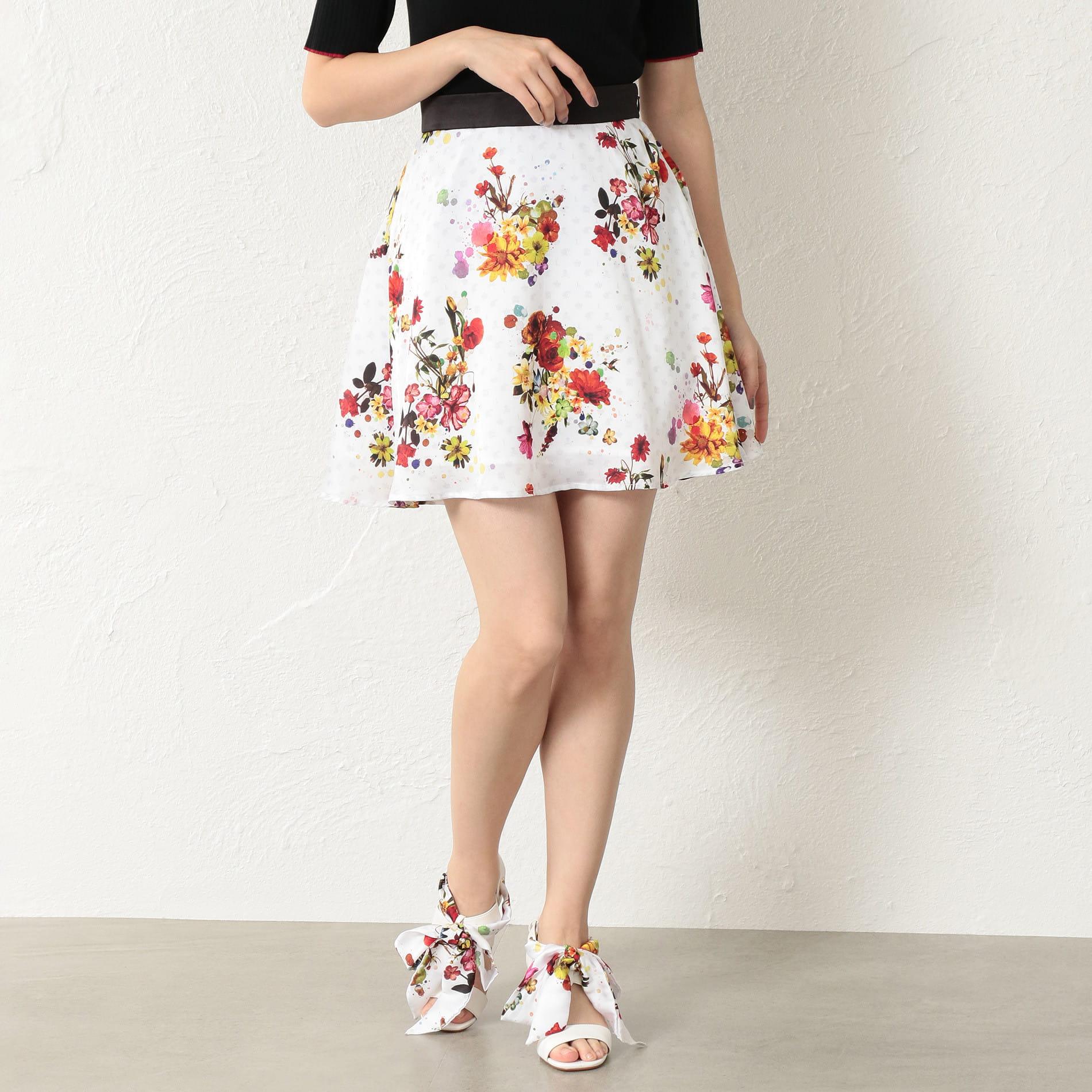 WOMEN nowarttモノグラムフレアスカート