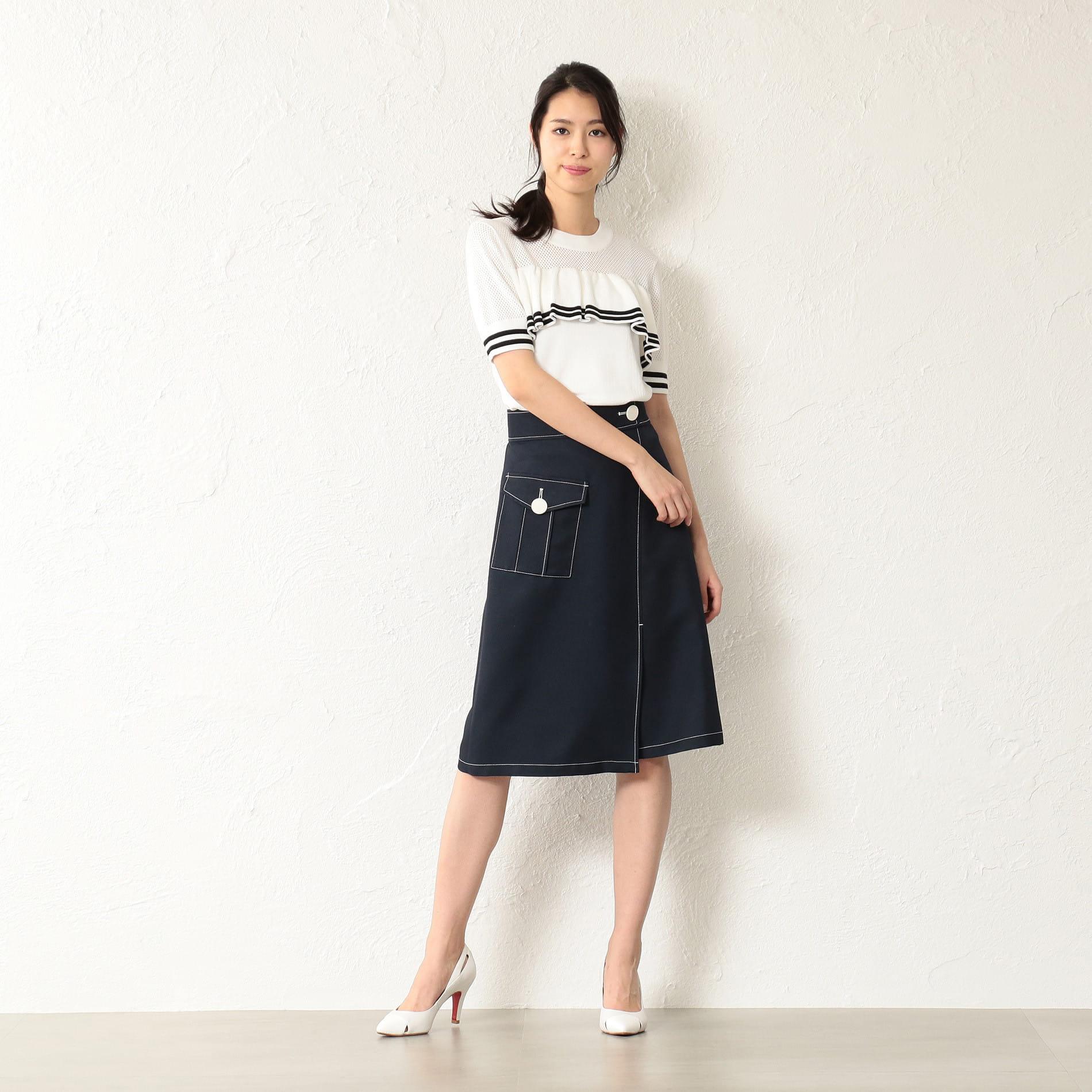 WOMEN ワークポケット台形スカート