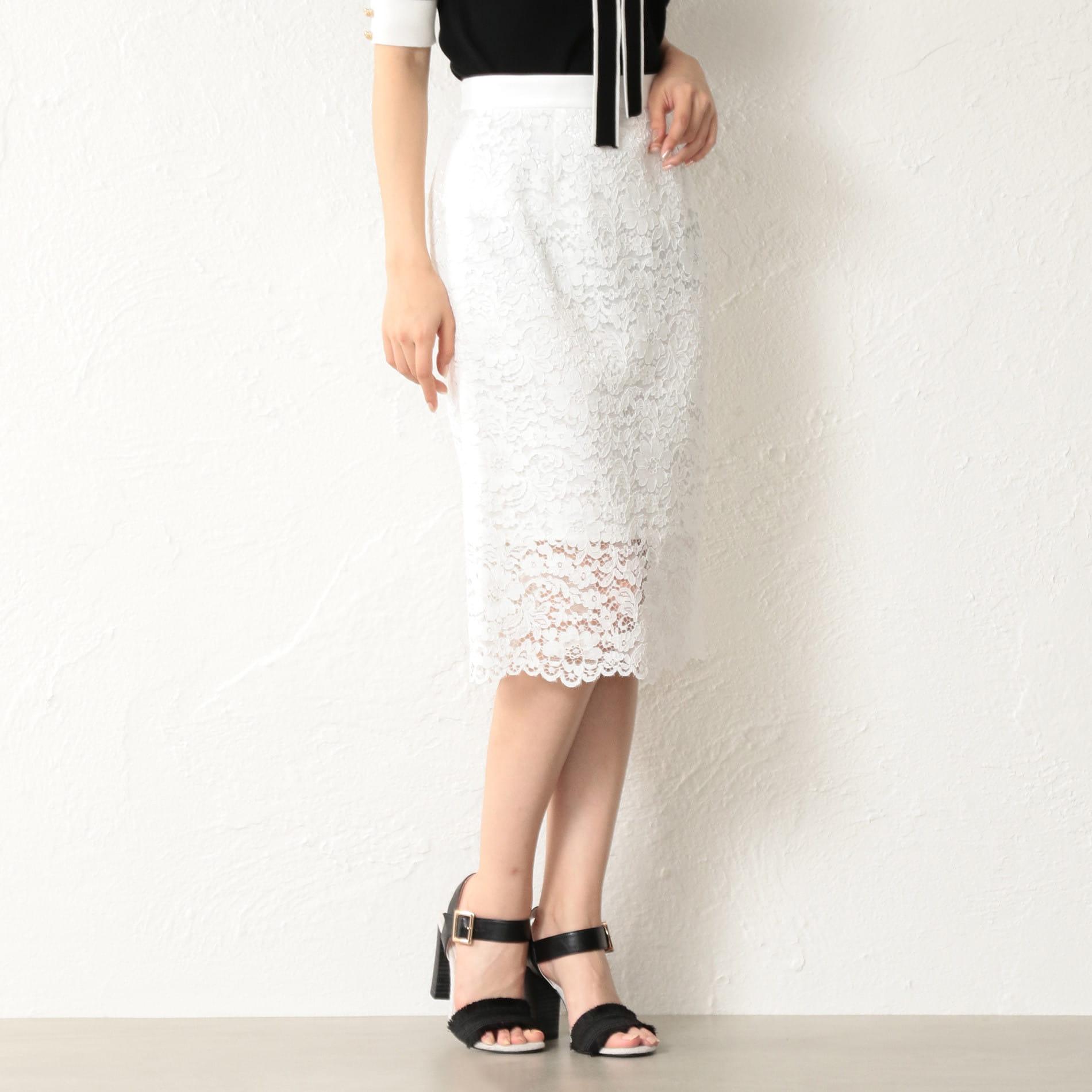 WOMEN レースタイトロングスカート