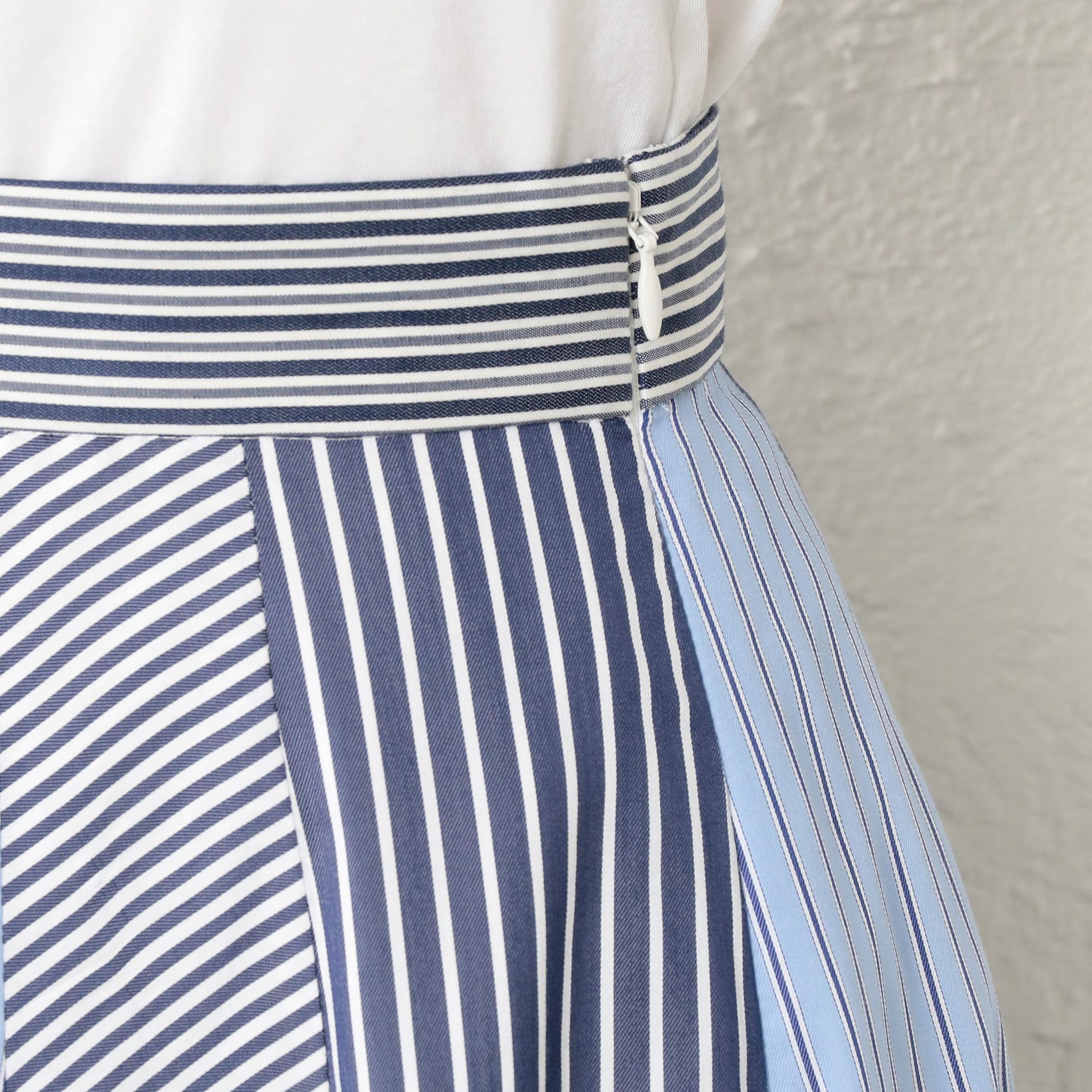 WOMEN ストライプブロッキングスカート