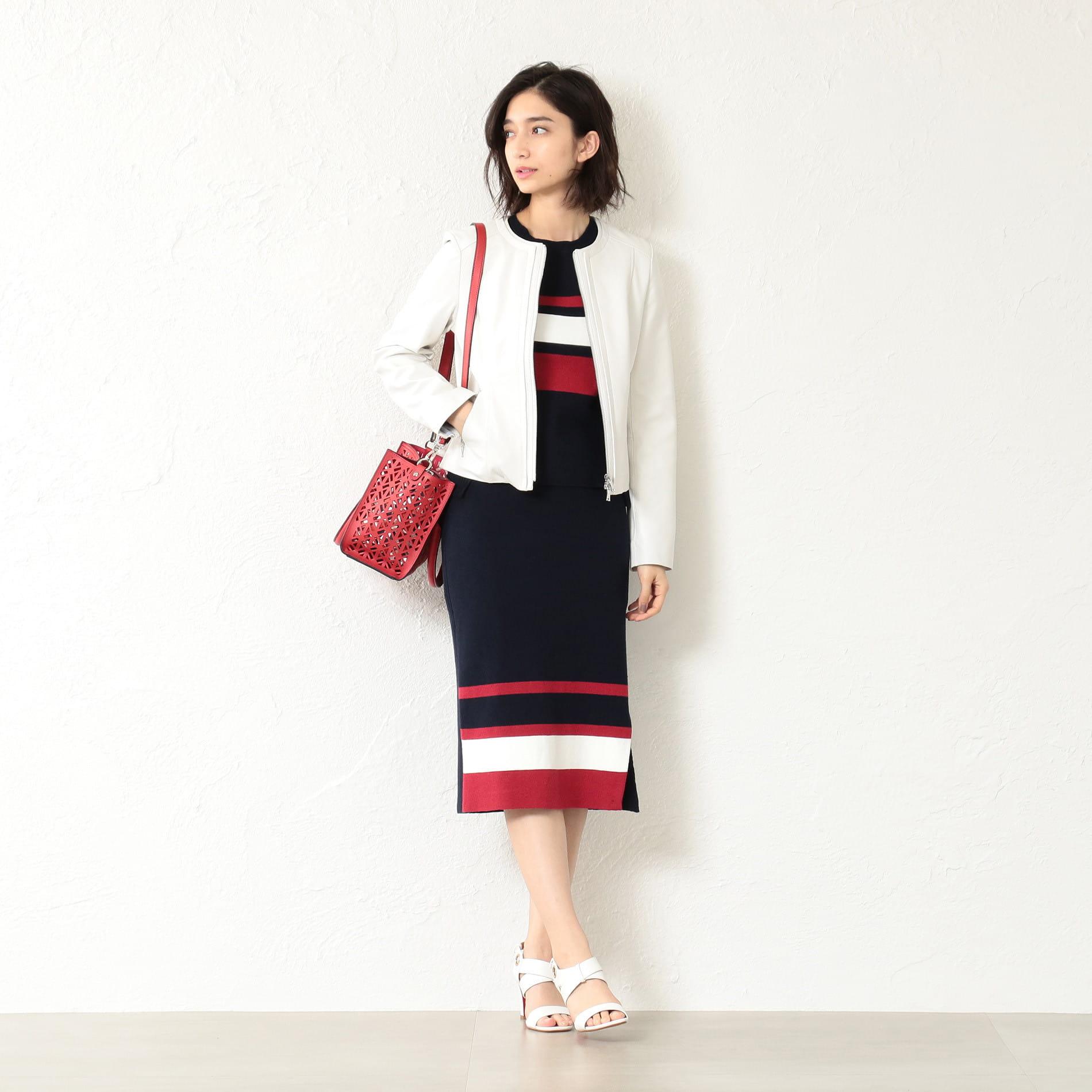 WOMEN トリコロール編地変化スカート