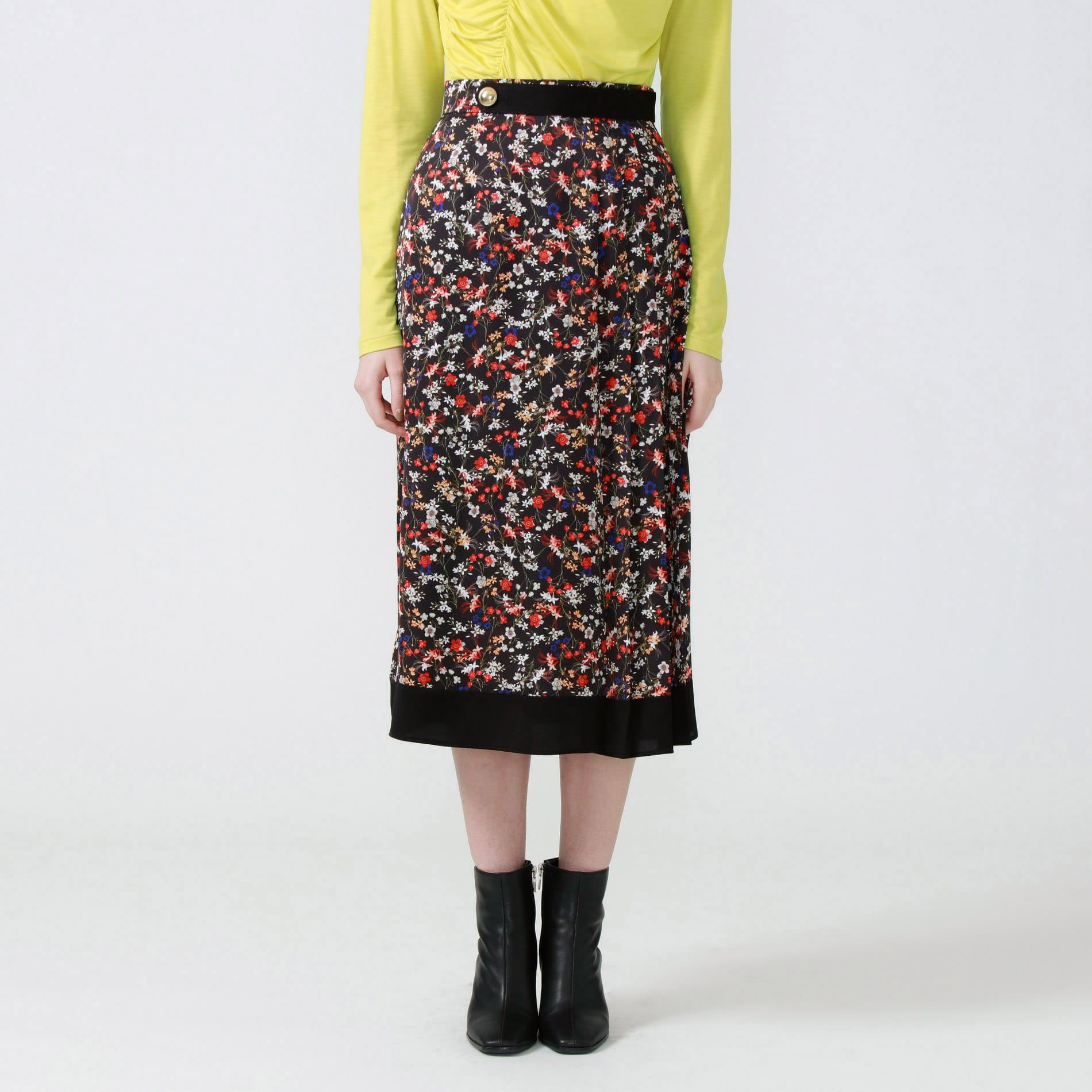 フラワープリントサイドプリーツスカート