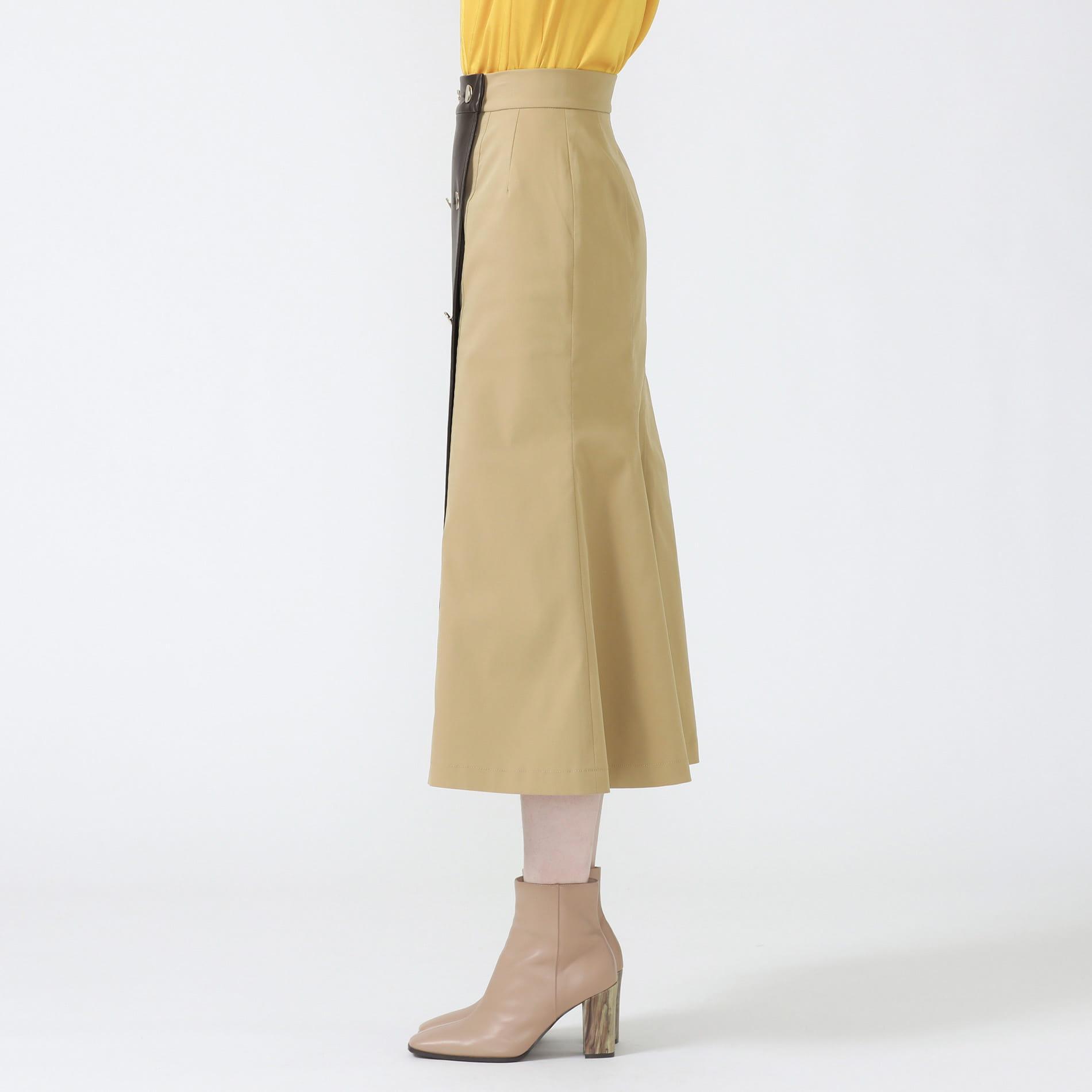 レザーコンビ トレンチスカート