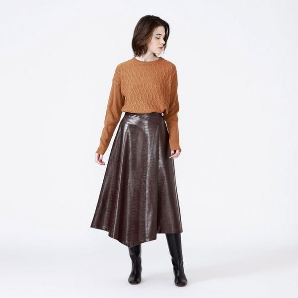 フェイククロコアシンメトリーレザースカート