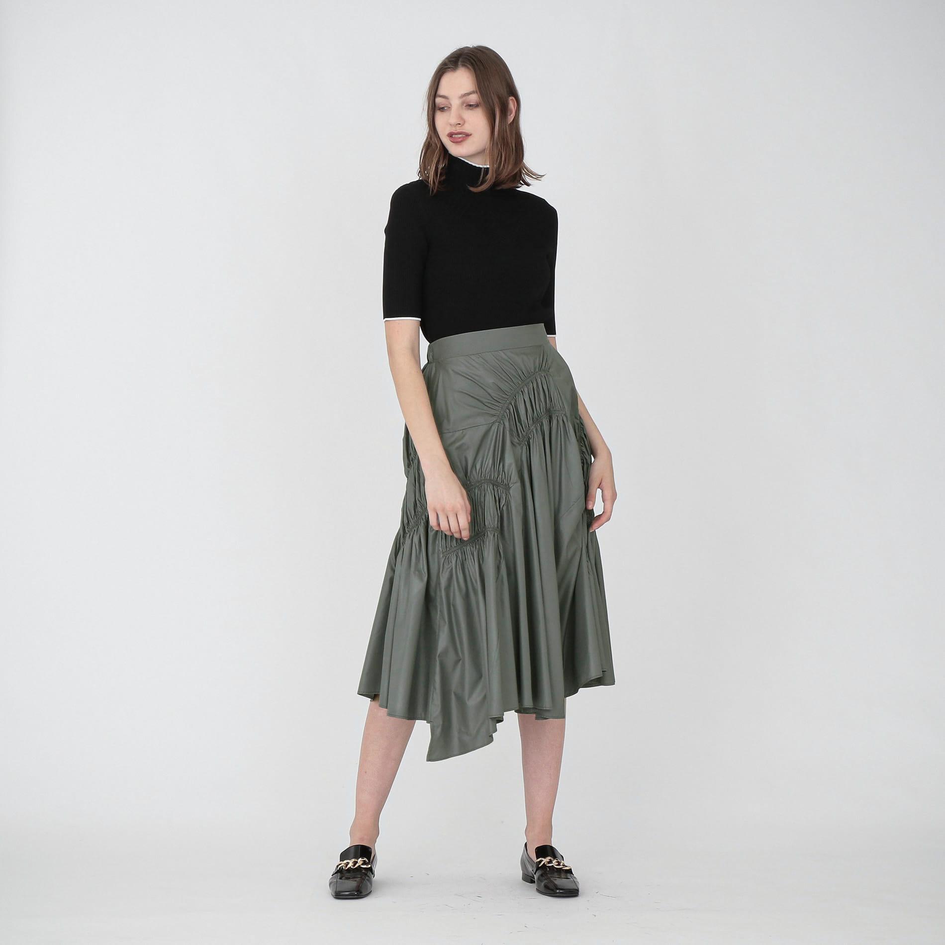 ギャザー タフタ スカート