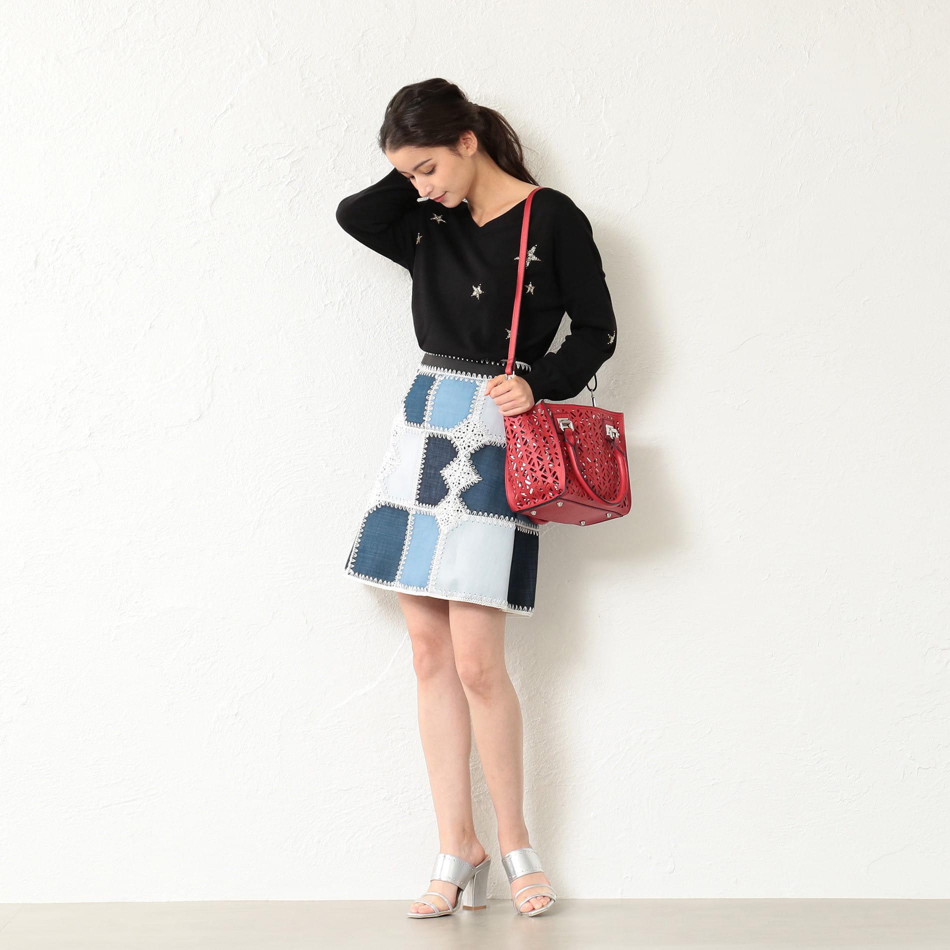 WOMEN カギバリ編 ブロッキングインディゴスカート