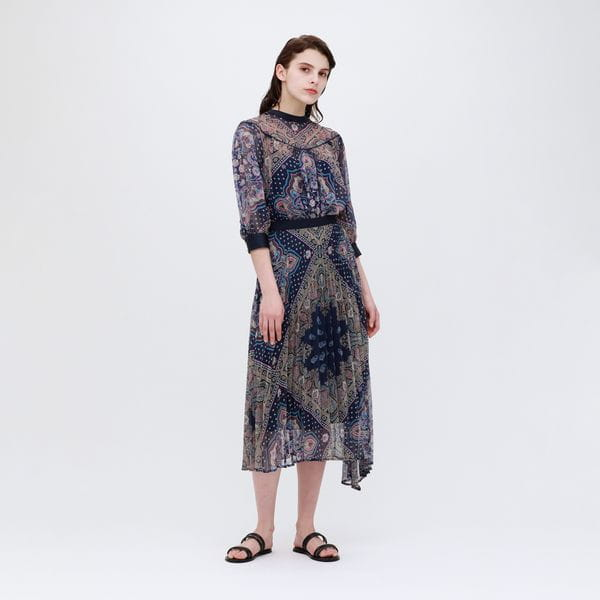 【otona MUSE掲載商品】ペイズリー プリーツスカート