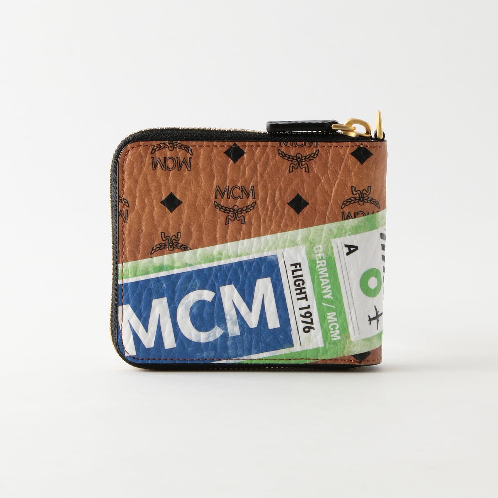 【MCM】ラウンドジップ二つ折り財布 VISETOS「FLIGHT PRINT」 MZL9SVI95