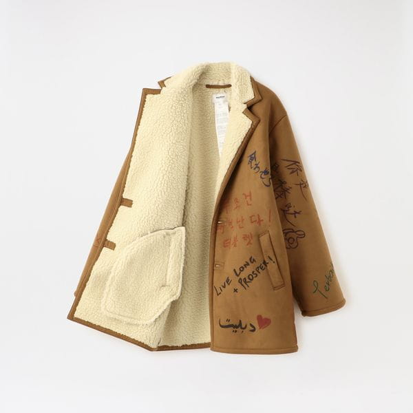 【doublet】MEN コート MESSAGE HAND-PAINTED MOUTON COAT 20AW03BL105