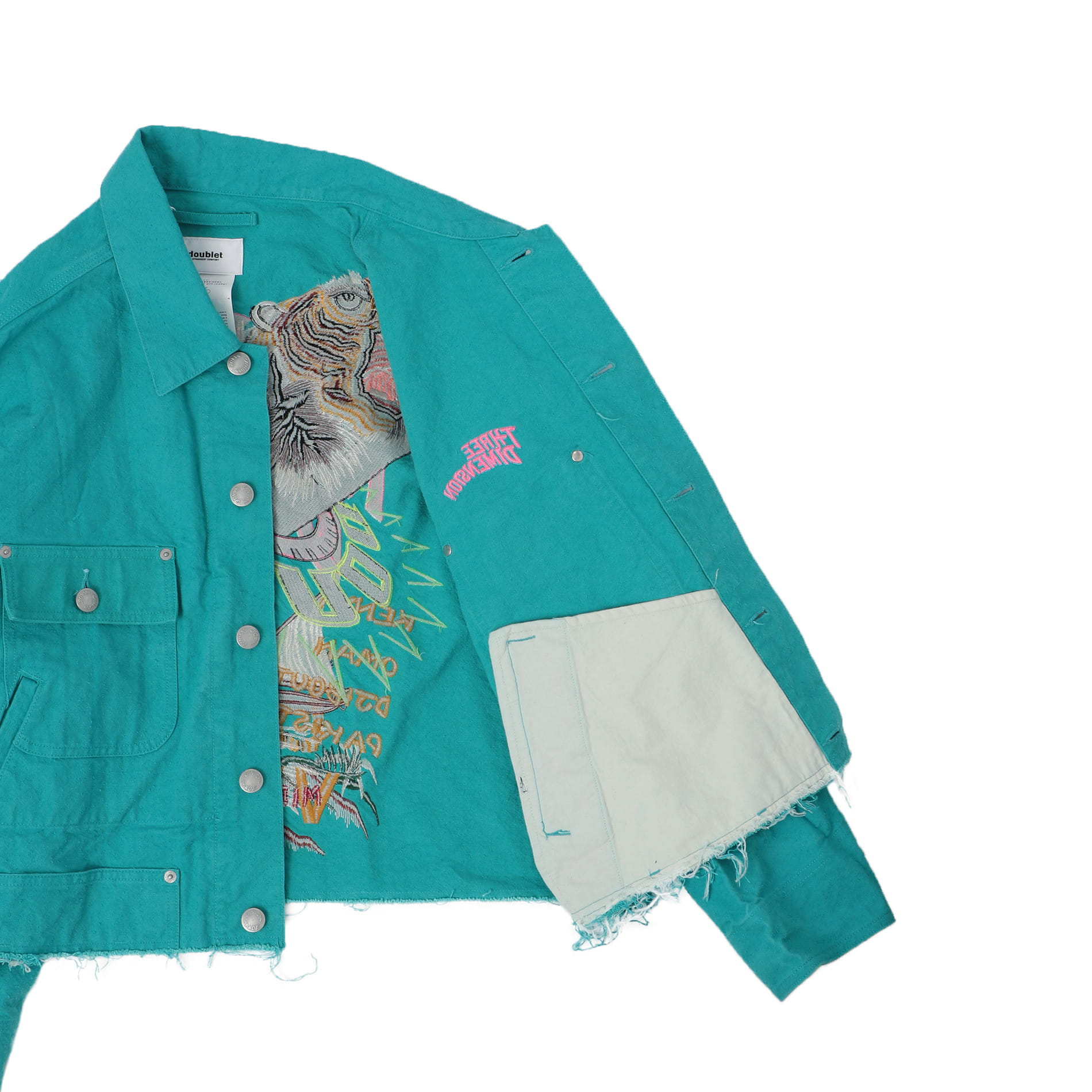 【doublet】MEN CHAOS EMBROIDERY SILK DUCK CUT OFF JACKET