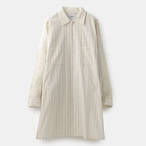 【doublet】MEN CHAOS EMBROIDERY WASHED STRIPE SHIRT 20SS17SH75