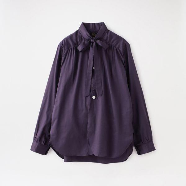 【Needles】MEN Ascot Collar EDW Gather Shirt-Cotton Sateen GL198