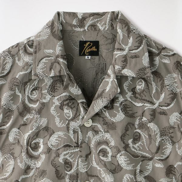 【Needles】MEN Cabana Shirt - Cotton Cloth/Rose Emb. GL209