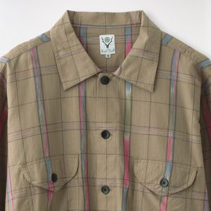 【South2 West8】MEN シャツ Smokey Shirt - Ikat Windowpane IN854