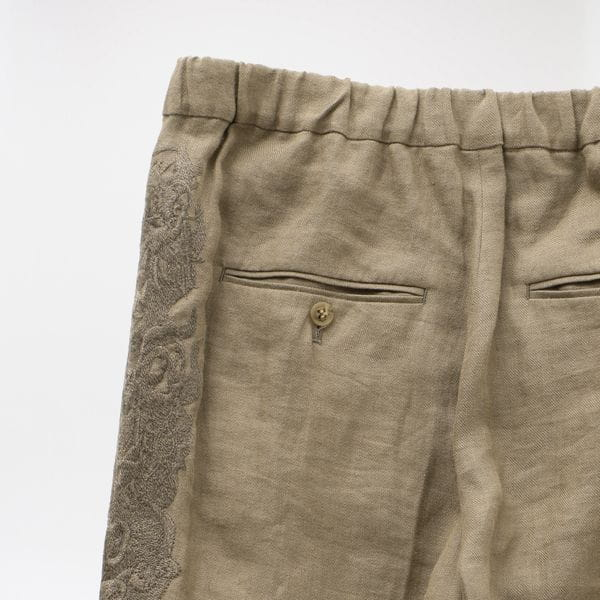 【doublet】MEN CHAOS EMBROIDERY LINEN TAPERED TROUSERS 20SS09PT119