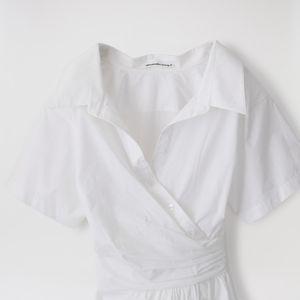 【alexanderwang.t】WOMEN ワンピース S/SLV BUTTON DOWN DRESS W/ WAIST GATHERS 4WC2216126
