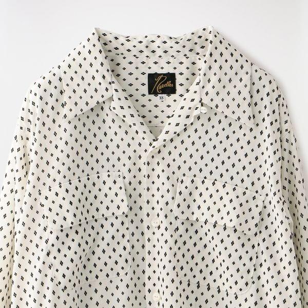 【Needles】WOMEN Cut-Off Bottom Classic Shirt-Poly Crepe Cloth/Flocky Pt. GL203