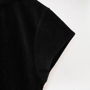 【alexanderwang.t】STRETCH CORDUROY CAP SLEEVE HOODIE W/LOGO ELASTIC 4W49100