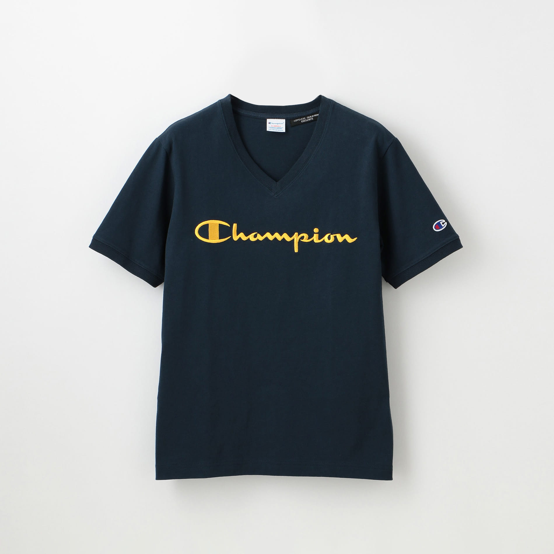 【Champion】WOMEN 別注VネックエンブロイダリーTシャツ