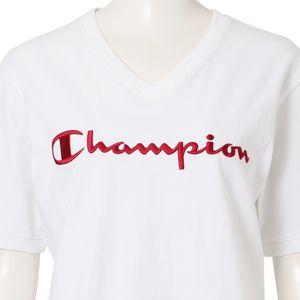 〈タイムセール〉【Champion】WOMEN 別注VネックエンブロイダリーTシャツ