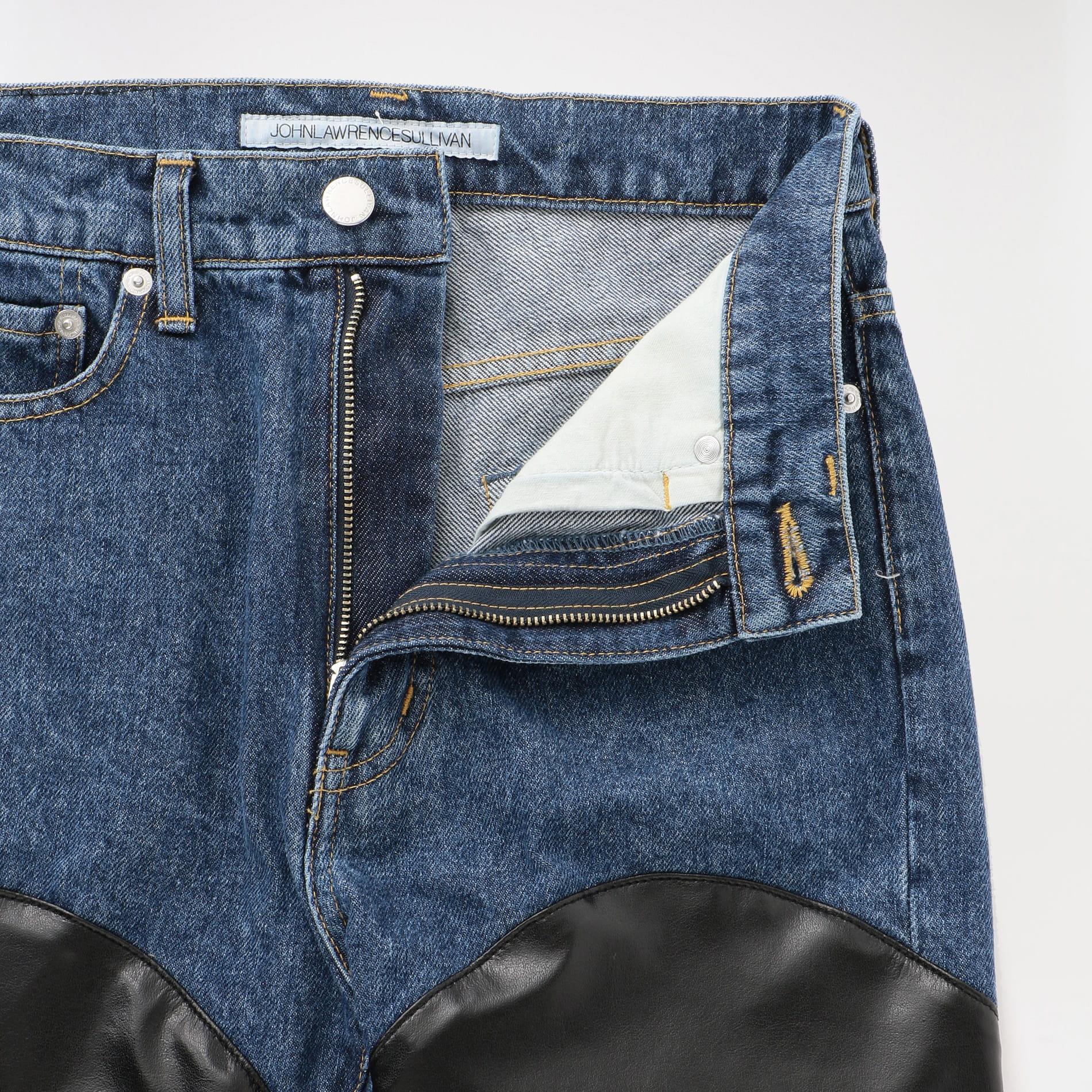 【JOHN LAWRENCE SULLIVAN】WOMEN Denim & Fake Leathercombi Color Pants JLSW-38