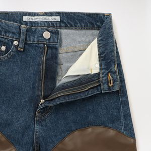 【JOHN LAWRENCE SULLIVAN】WOMEN DENIM&FAKE LEATHER BI-COLOR PANTS JLSW-38 WS-07