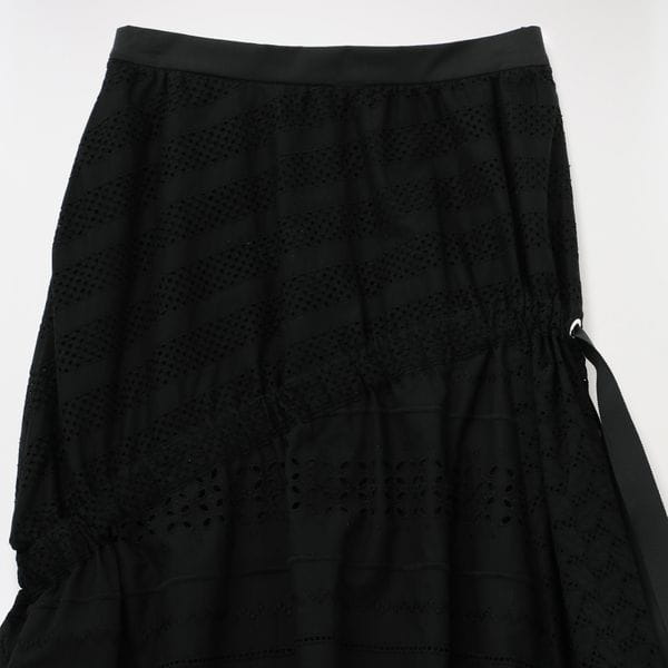 【AVIE】WOMEN RACE MIX FRILL LONG SKIRT 0200-180402