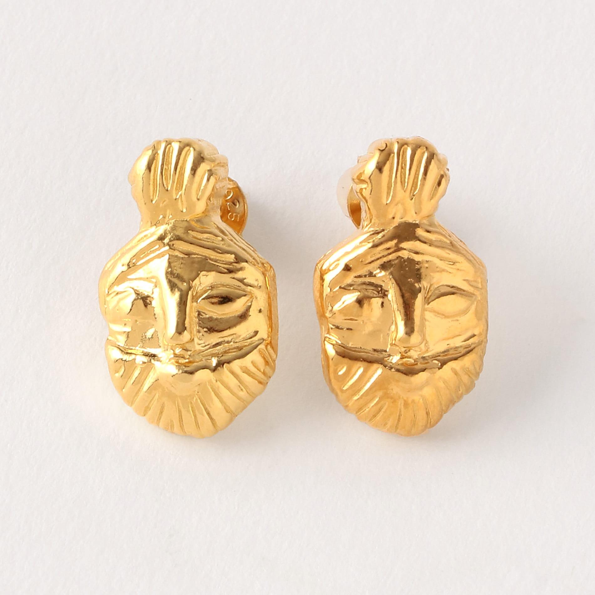 【LUCY FOLK】WOMEN ピアス Bes Stud Earrings yellow gold palate JWLEAR-4145-100