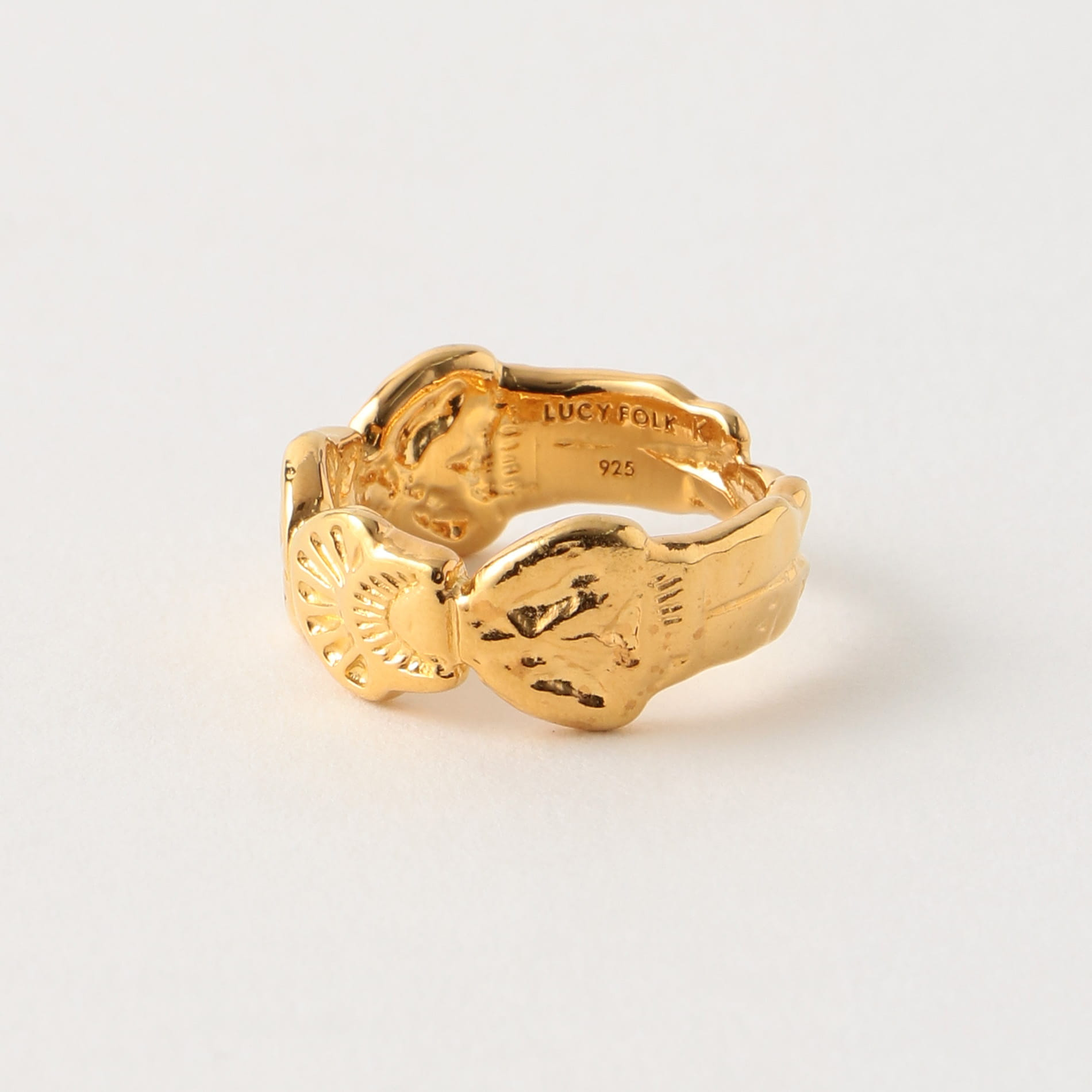 【LUCY FOLK】WOMEN リング Pyramid Of The Sun Sterling Silver, Yellow Gold Plate