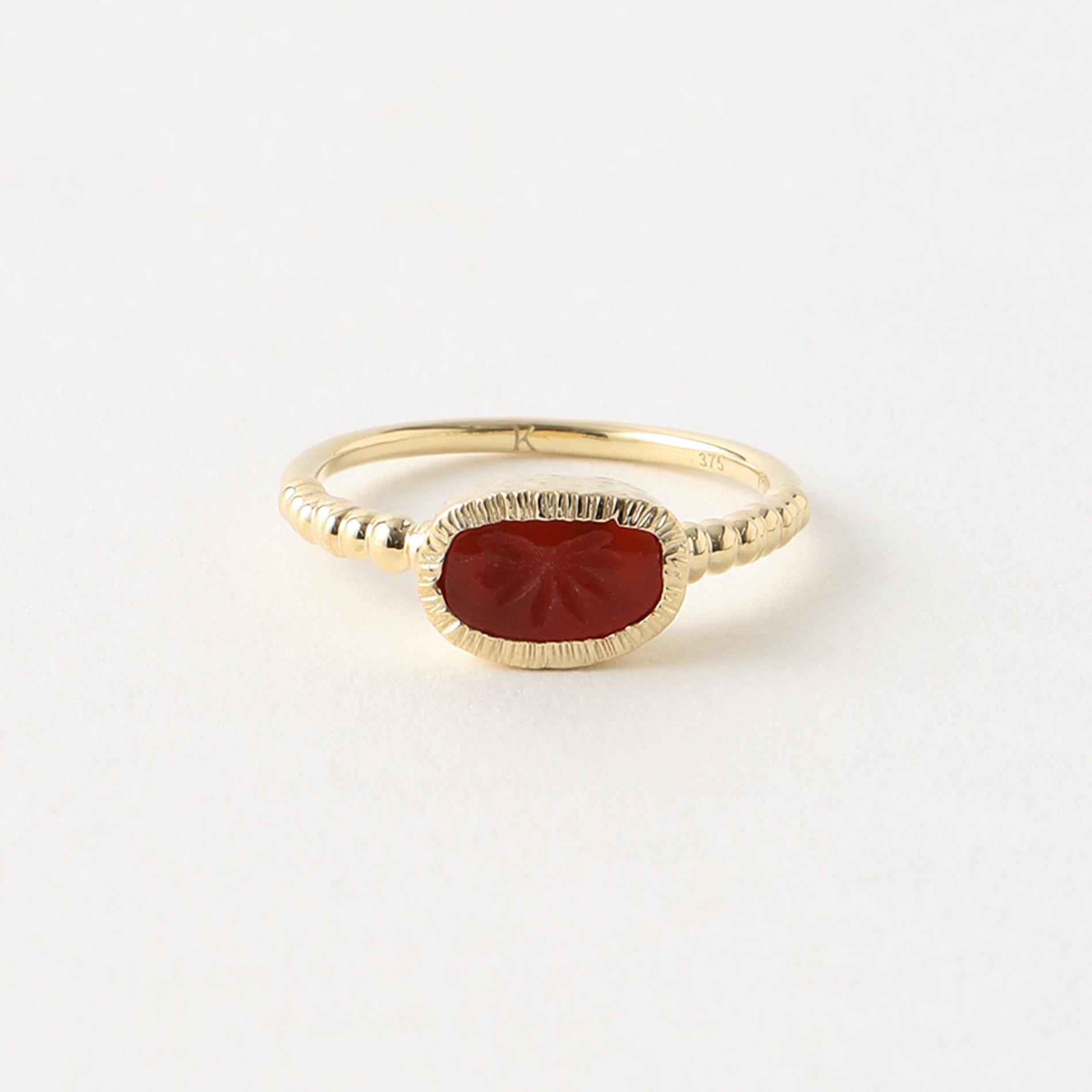 【LUCY FOLK】WOMEN リング Surya Ring,Cardelian 9kt Yellow Gold