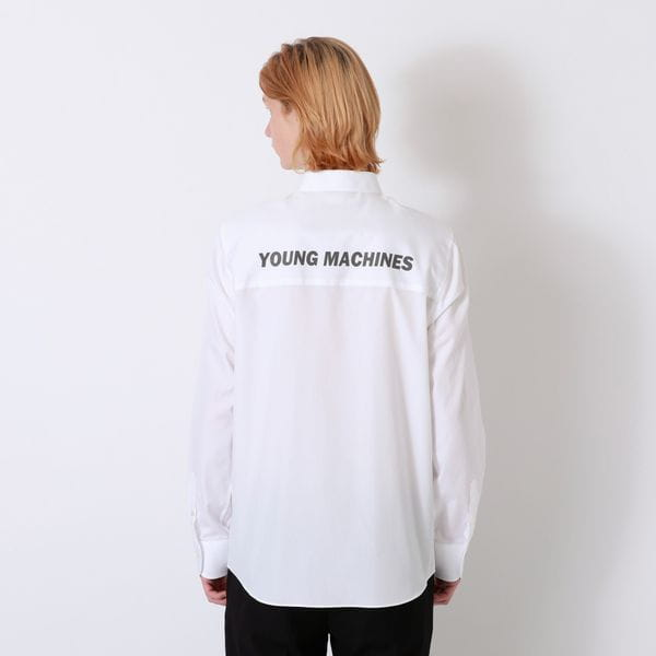 【Education from Youngmachines】バックリフレクターロゴ チェーンシャツ