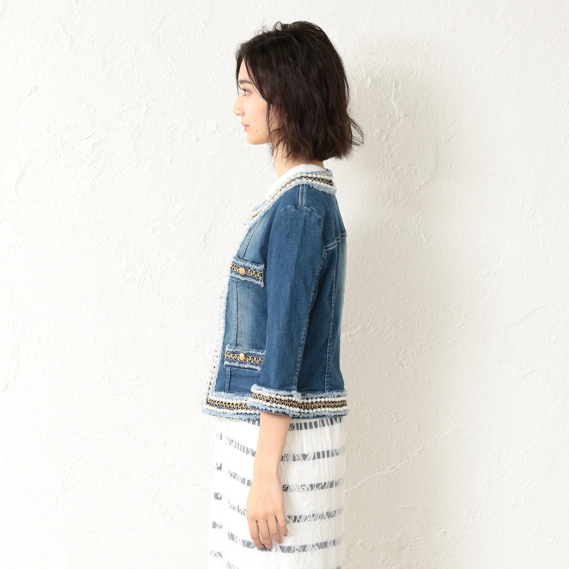 【GUILD PRIME】WOMEN ドレッシーパールデニムジャケット