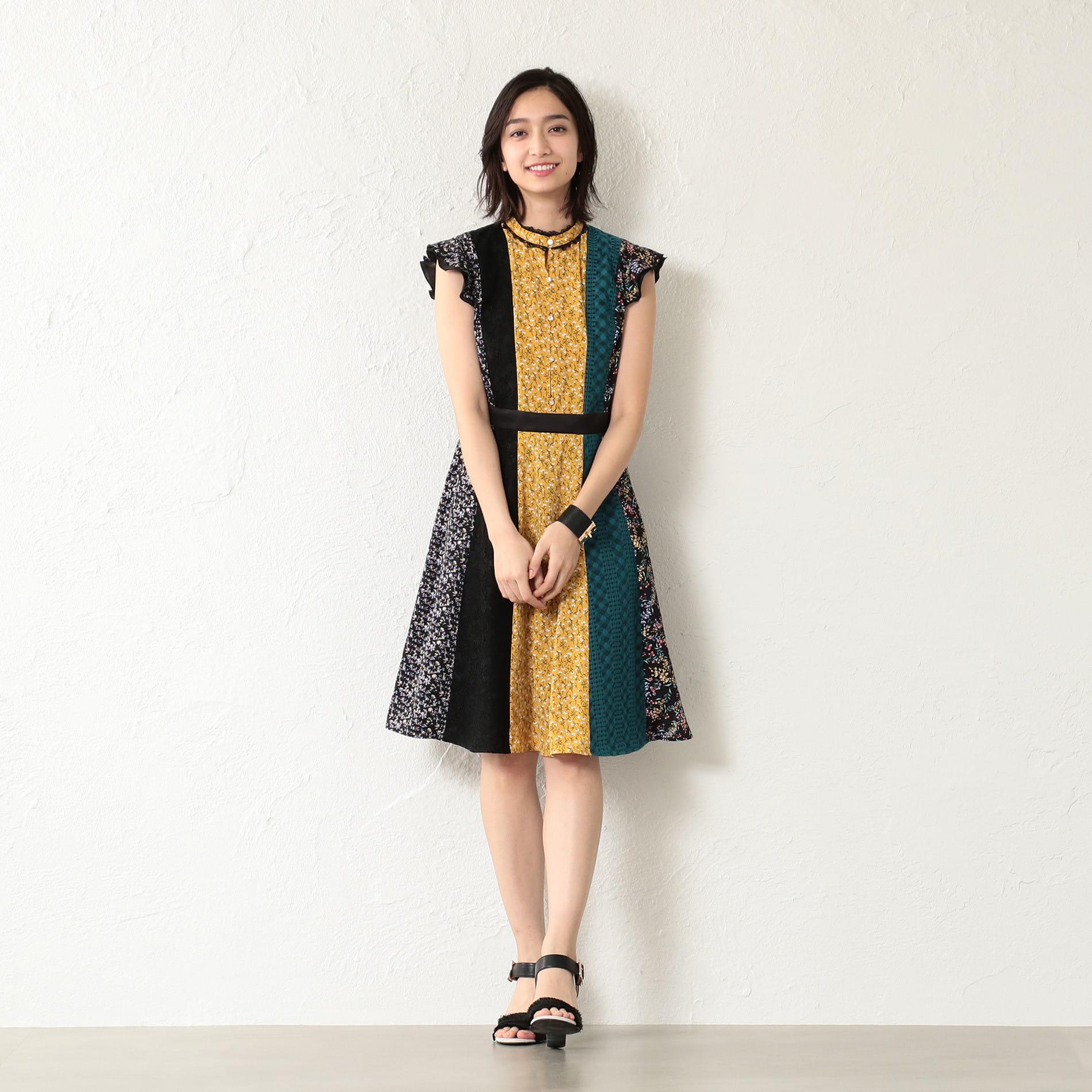 【GUILD PRIME】WOMEN フラワーブロッキングドレス