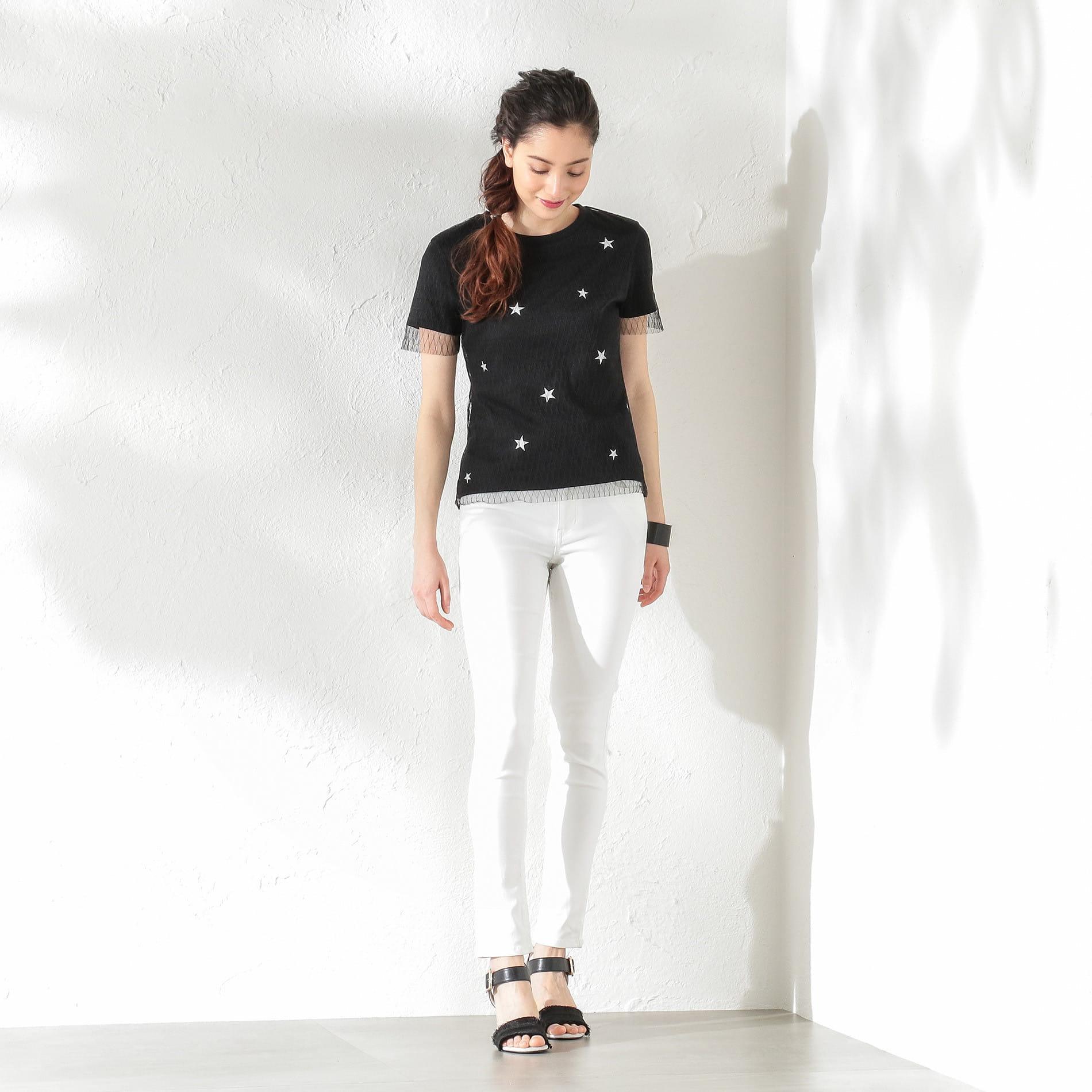 【GUILD PRIME】WOMEN スターチュールレイヤードTシャツ