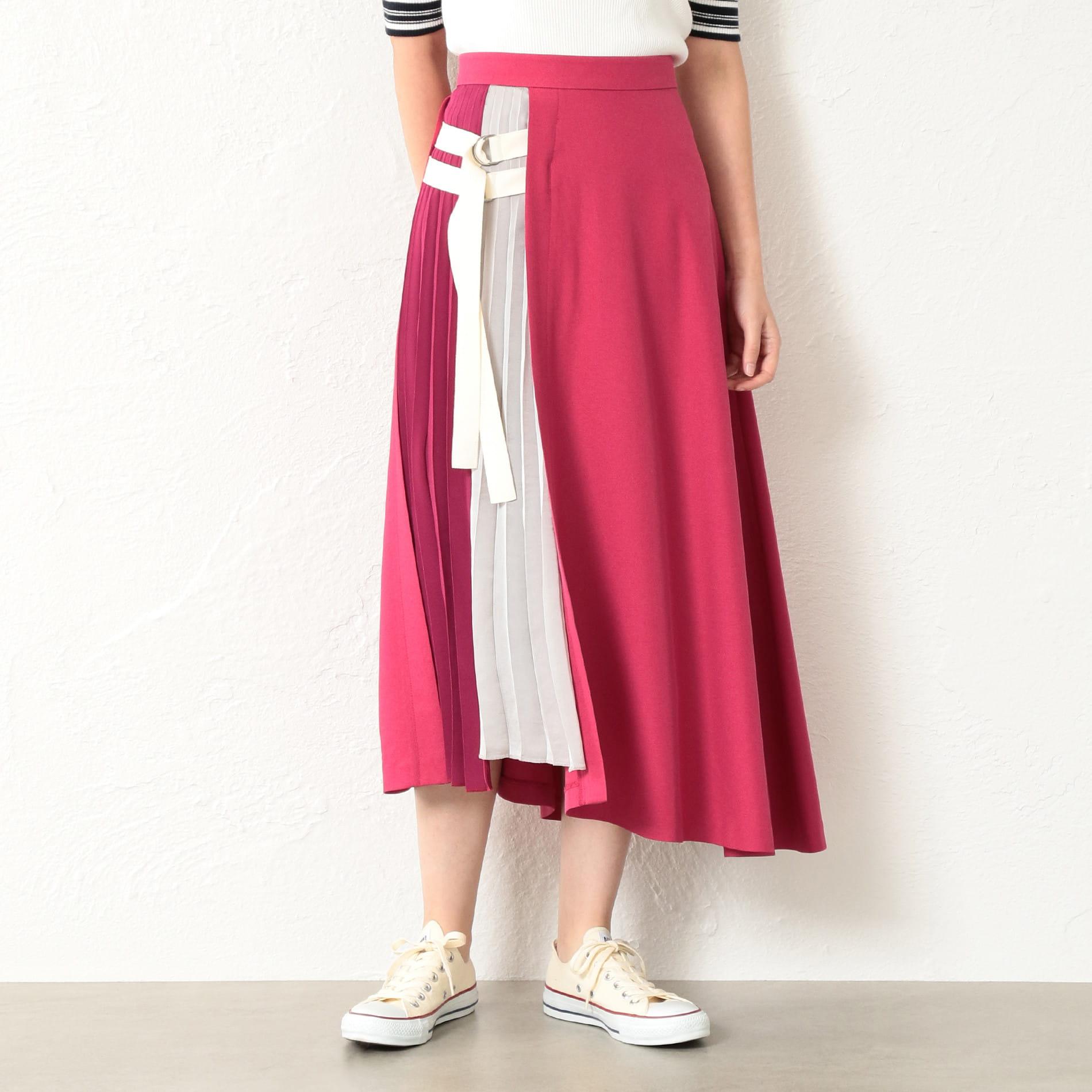 【GUILD PRIME】WOMEN カラーブロックベルテッドスカート