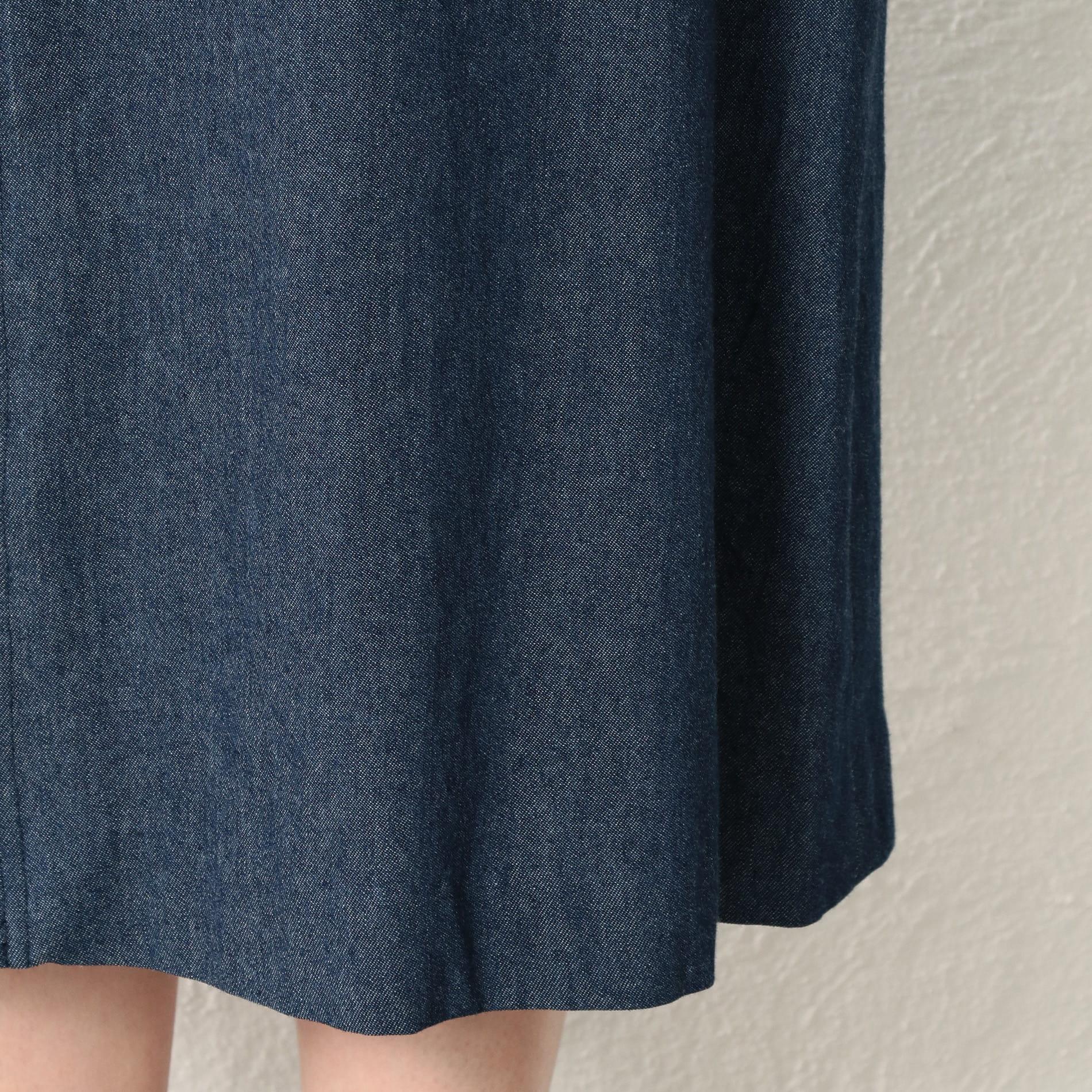 【GUILD PRIME】WOMEN プリントプリーツデニムコンビデニムスカート
