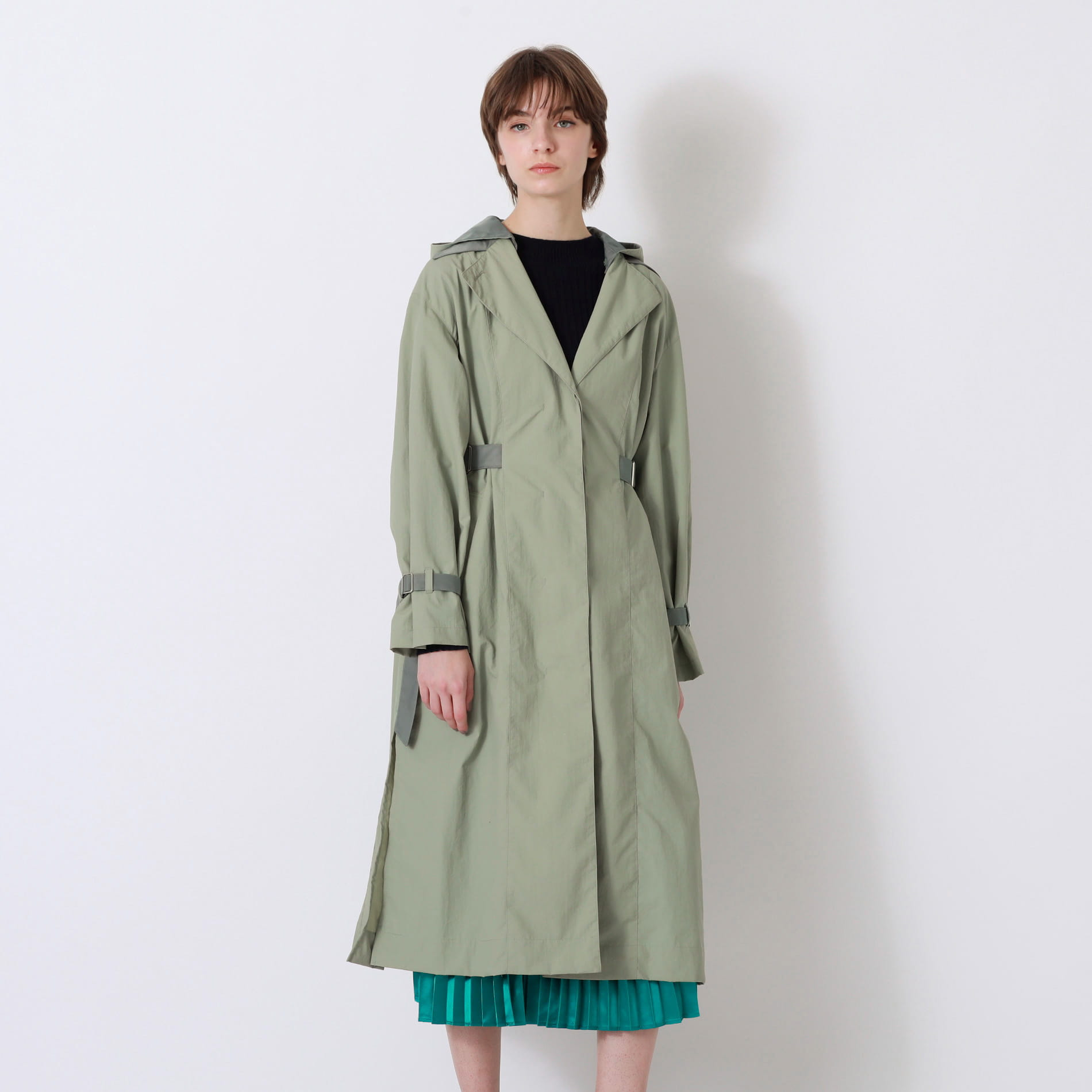 【予約販売】カーキコンビ フーデッド コート